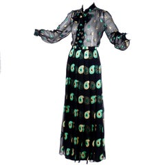 Jean Patou Black Silk Dress with Gold / Green Metallic Paisley Embroidery, 1970s