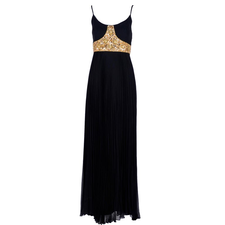 1970s Black Jean Patou Evening Gown Vintage Dress With Gold Beads & Sequins  For Sale