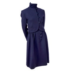Vintage Valentino Dress Suit With Dress & Jacket in Navy Blue Wool