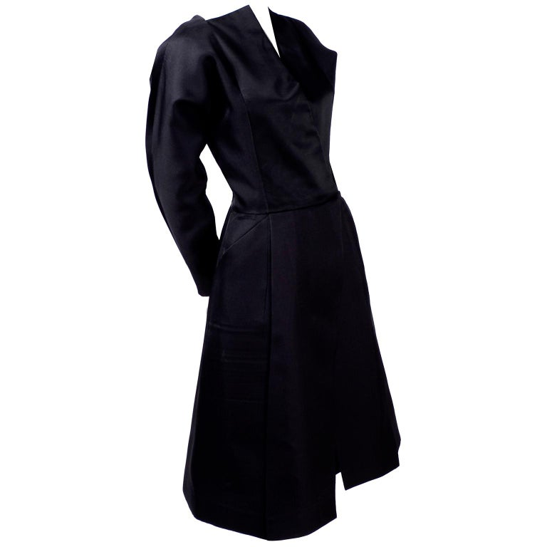 Vintage Black Geoffrey Beene Dress W/ Detailed Origami Folds & Styling For Sale
