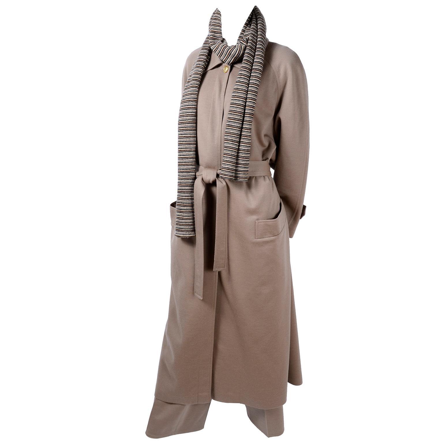 Sonia Rykiel Paris Vintage Beige Wool Trousers Coat and Scarf Pants Suit