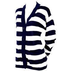 Yves Saint Laurent YSL Vintage Navy Blue White Striped Cardigan Sweater