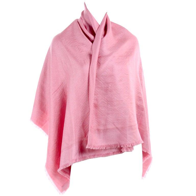 Fendi Pink Silk Glitter Jacquard Logo Scarf or Wrap With Fringe  For Sale 2