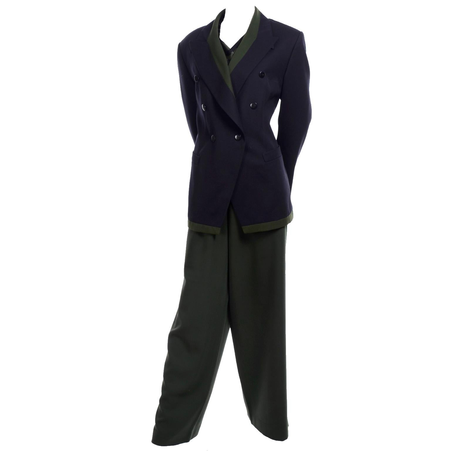 1980s Escada Navy Blue & Green 3 pc Trouser Pant Suit & Animal Print Silk Blouse