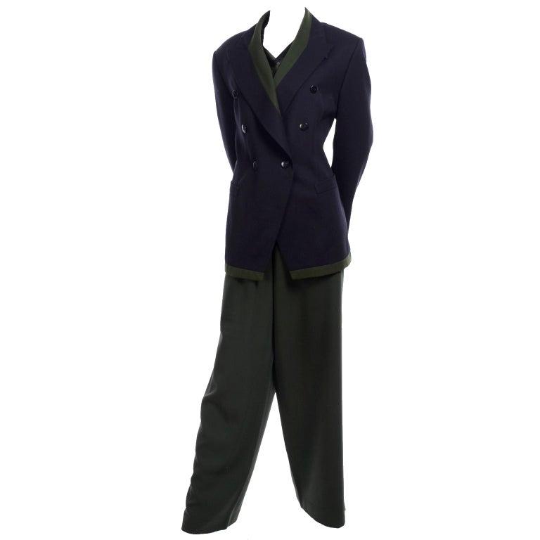 1980s Escada Navy Blue & Green Trouser Pant Suit & Animal Print Silk Blouse