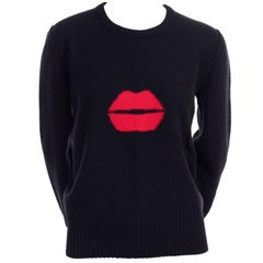1980s Sonia Rykiel Vintage Black and Red Kiss Sweater in Angora Wool Blend