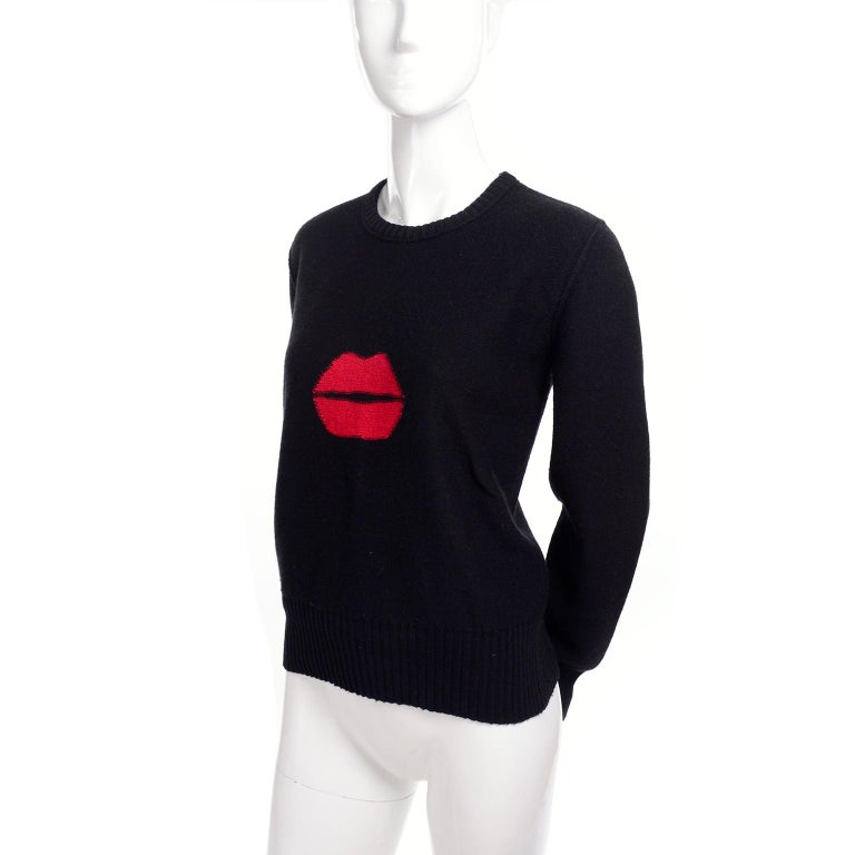1980s Sonia Rykiel Vintage Black and Red Kiss Sweater in Angora Wool Blend For Sale 4