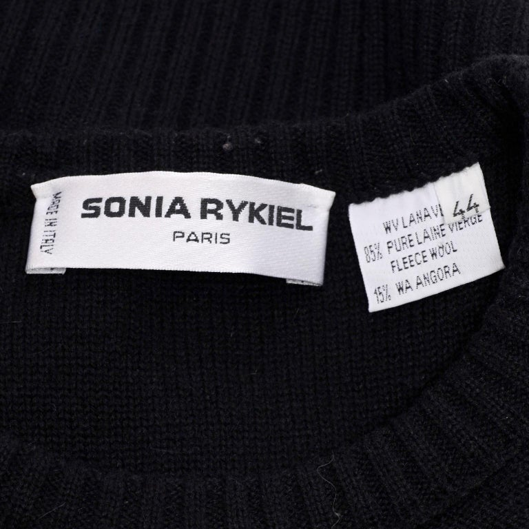 1980s Sonia Rykiel Vintage Black and Red Kiss Sweater in Angora Wool Blend For Sale 3
