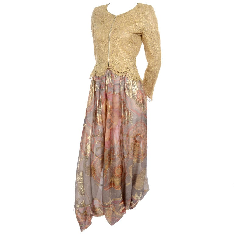 Mary McFadden Couture Evening Gold Lame Print Harem Pants & Gold Lace Top