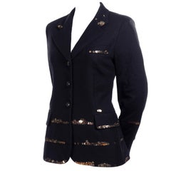 Vintage Moschino Black Blazer With Fine Netting and Gold Sequins