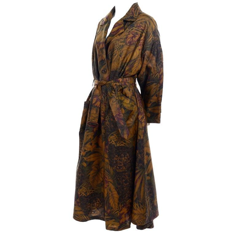Vintage Salvatore Ferragamo Jungle Print Swing Style Raincoat
