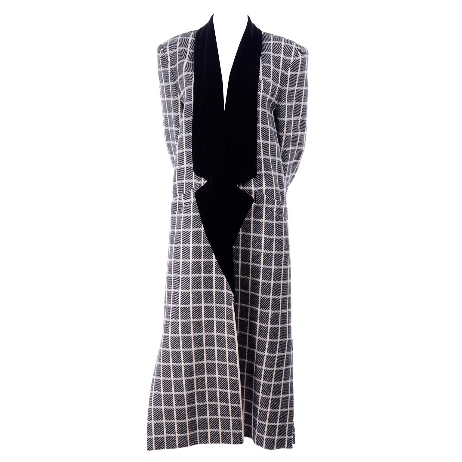 1980s Vintage Escada Black & Cream Plaid Coat With Black Velvet Lapels