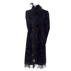 Oscar de la Renta Black Velvet Evening Coat W Lace Sequins & Ostrich Feathers