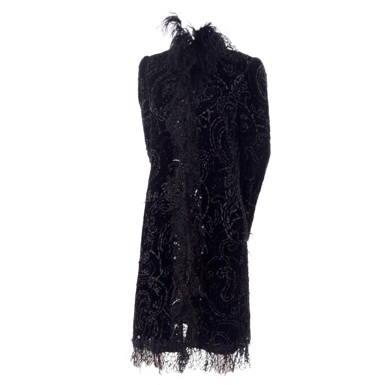 Oscar de la Renta Black Velvet Evening Coat W Lace Sequins & Ostrich Feathers For Sale