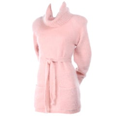 1970s Anne Klein Pink Mohair Cowl Neck Sweater With Pockets & Belt Made in Italy
