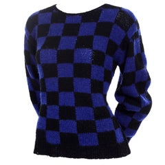 1980s Perry Ellis Vintage Blue & Black Check Wool Hand Knit Sweater I Magnin