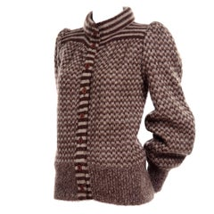 Vintage Brown & Cream Patterned Fuzzy Wool Cardigan Sweater Valentino Attributed