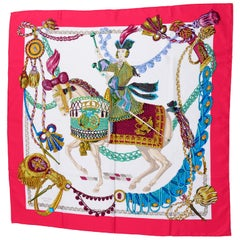 Hermes Le Timbalier Silk Scarf With Festooned Horse & Rider by Francoise Heron