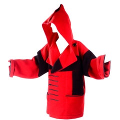Jean Charles de Castelbajac 1980s Red & Black Wool Coat w/ Leather Trim & Hood