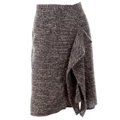 Pre-Fall 2009 Oscar de la Renta Brown & Cream Wool Mohair Alpaca Tweed Skirt