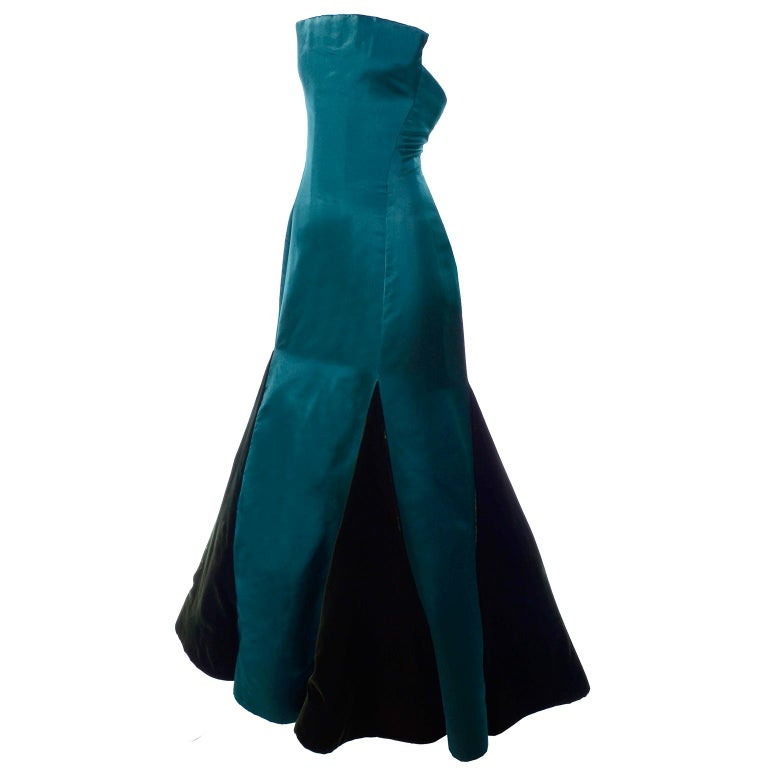 Arnold Scaasi Vintage Dress Strapless Green Evening Gown W/ Velvet Trumpet Skirt For Sale