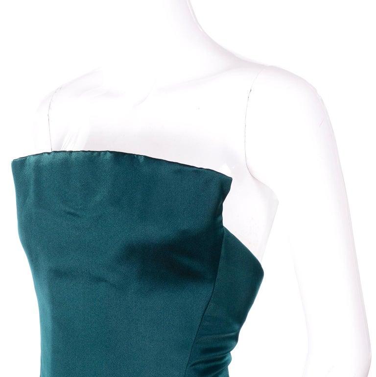 Black Arnold Scaasi Vintage Dress Strapless Green Evening Gown W/ Velvet Trumpet Skirt For Sale