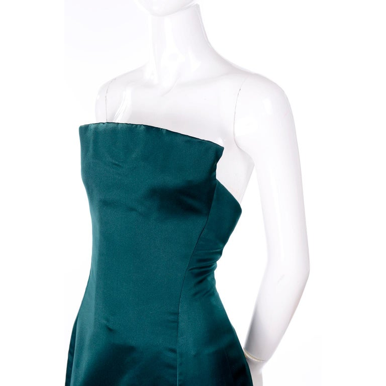 Arnold Scaasi Vintage Dress Strapless Green Evening Gown W/ Velvet Trumpet Skirt In Good Condition For Sale In Portland, OR