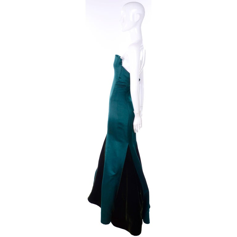 Women's Arnold Scaasi Vintage Dress Strapless Green Evening Gown W/ Velvet Trumpet Skirt For Sale
