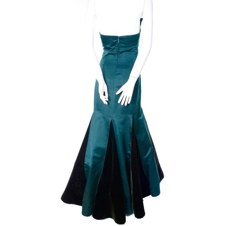 Arnold Scaasi Vintage Dress Strapless Green Evening Gown W/ Velvet Trumpet Skirt For Sale 1