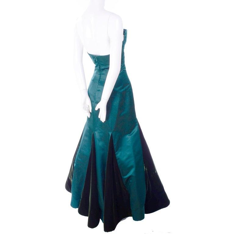 Arnold Scaasi Vintage Dress Strapless Green Evening Gown W/ Velvet Trumpet Skirt For Sale 2