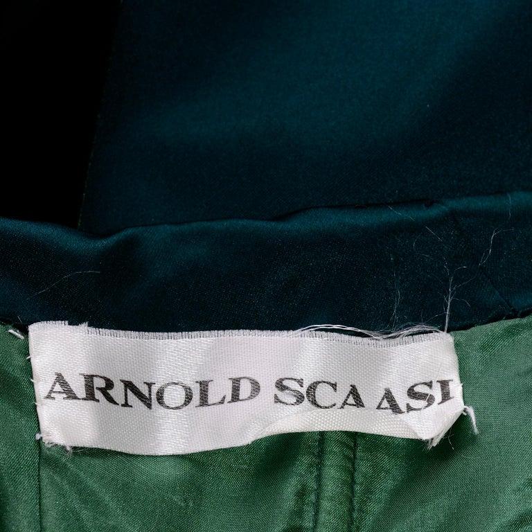 Arnold Scaasi Vintage Dress Strapless Green Evening Gown W/ Velvet Trumpet Skirt For Sale 3