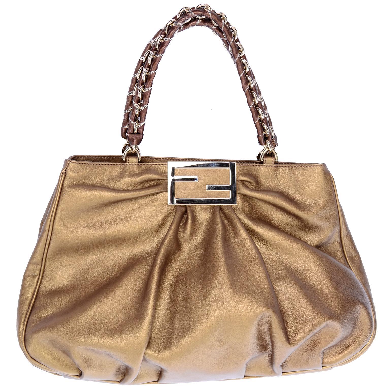 Fendi Bag in Bronze Leather Borsa Mia Handbag w/ Shoulder Strap & Original Card