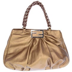 Fendi Bag in Bronze Leather Borsa Mia Handbag w/ Shoulder Strap & Original Card