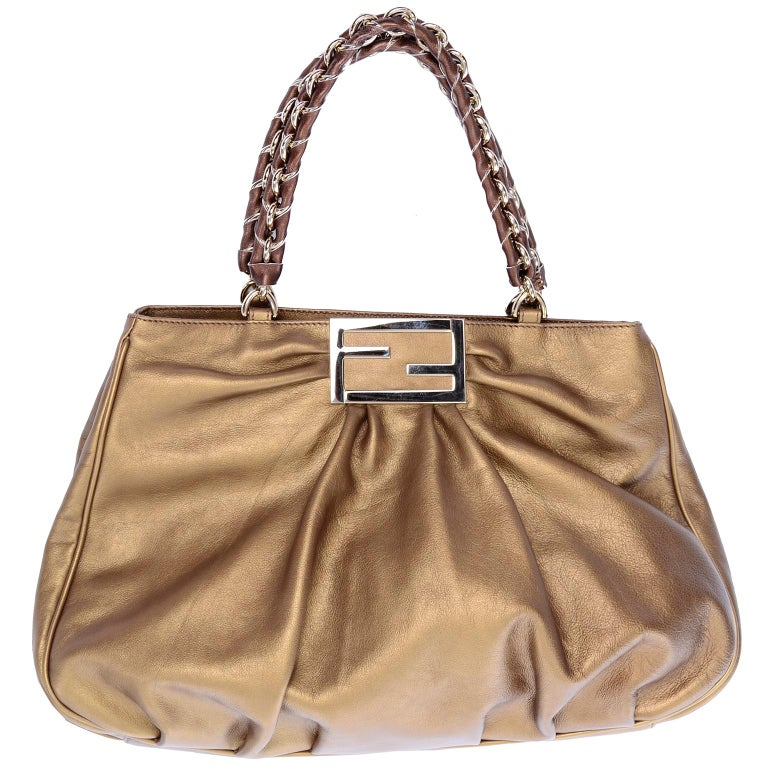 8804118f34 Fendi Bag in Bronze Leather Borsa Mia Handbag w  Shoulder Strap and  Original Card For Sale at 1stdibs