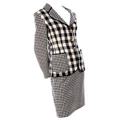 Emanuel Ungaro Vintage Black Plaid & Houndstooth Check Wool Skirt & Jacket Suit