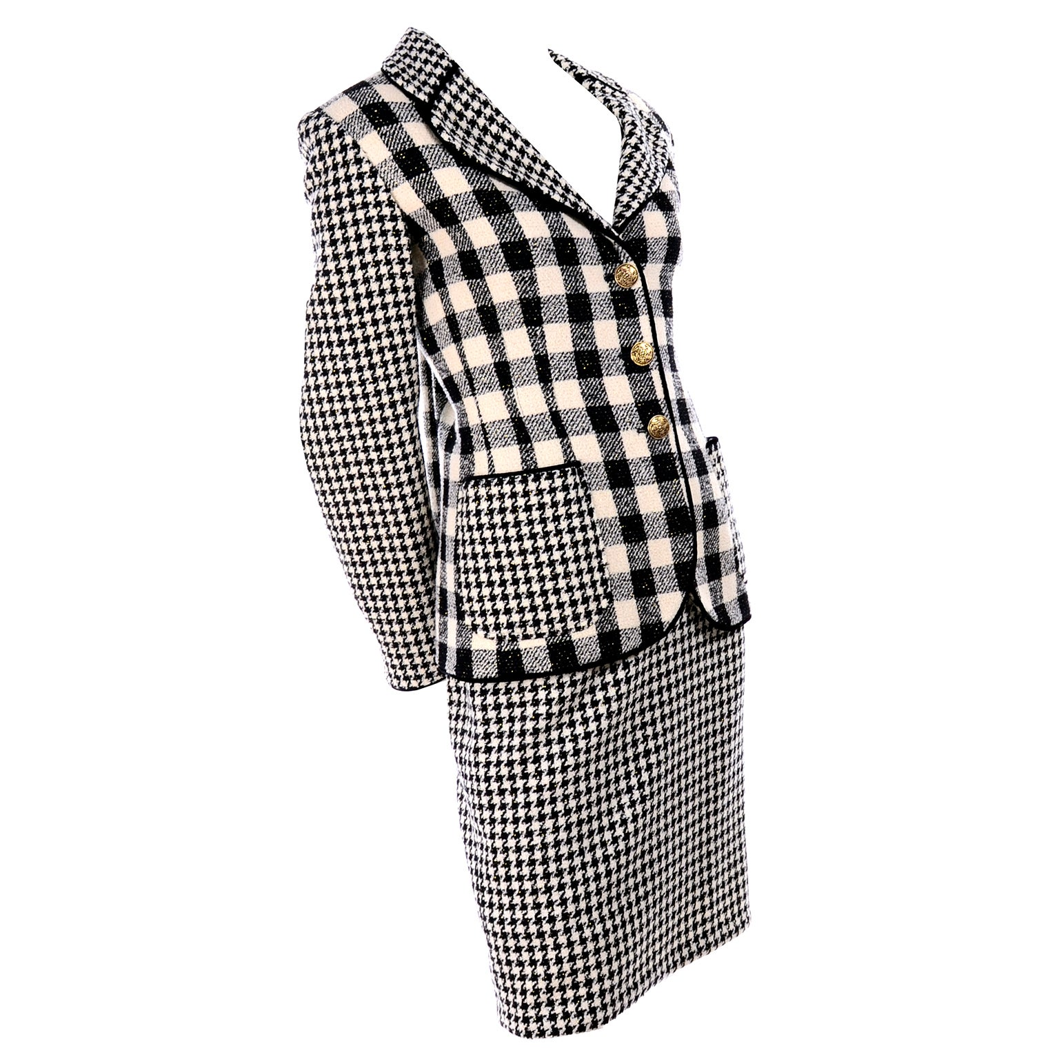 Emanuel Ungaro Vintage Black Plaid & Houndstooth Check Wool Skirt & Jacket Suit