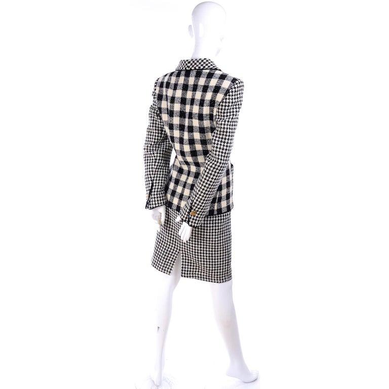 Emanuel Ungaro Vintage Black Plaid & Houndstooth Check Wool Skirt & Jacket Suit For Sale 6