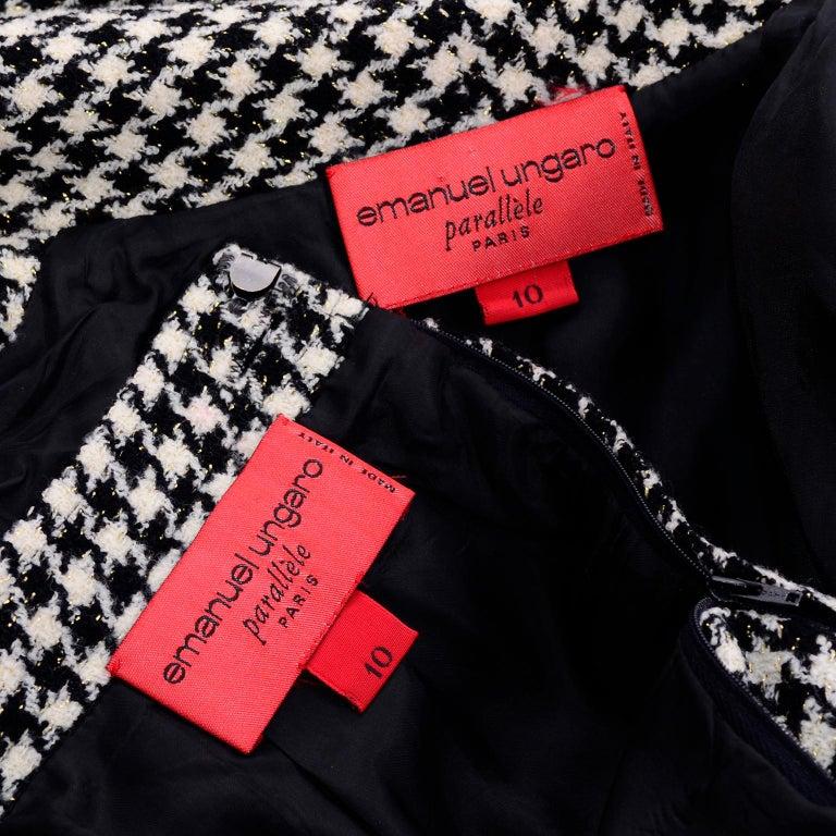Emanuel Ungaro Vintage Black Plaid & Houndstooth Check Wool Skirt & Jacket Suit For Sale 7