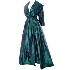 Carolyne Roehm Vintage Dress in Iridescent Green Taffeta From Bergdorf Goodman
