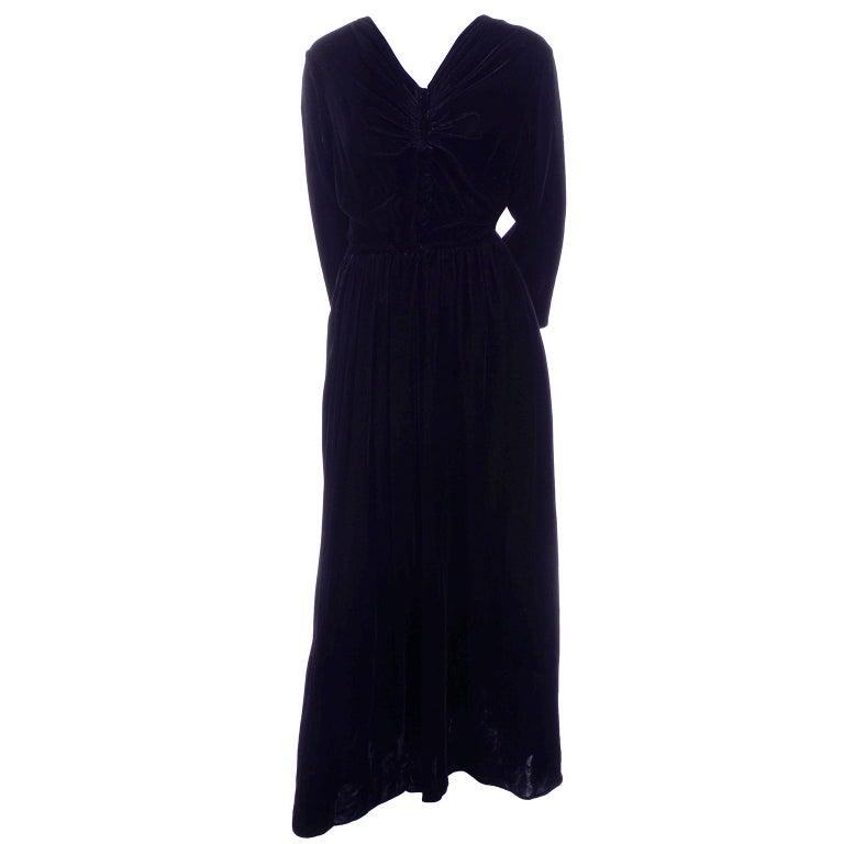 Vintage 1940s Black Velvet Evening Dress or Hostess Gown For Sale 1