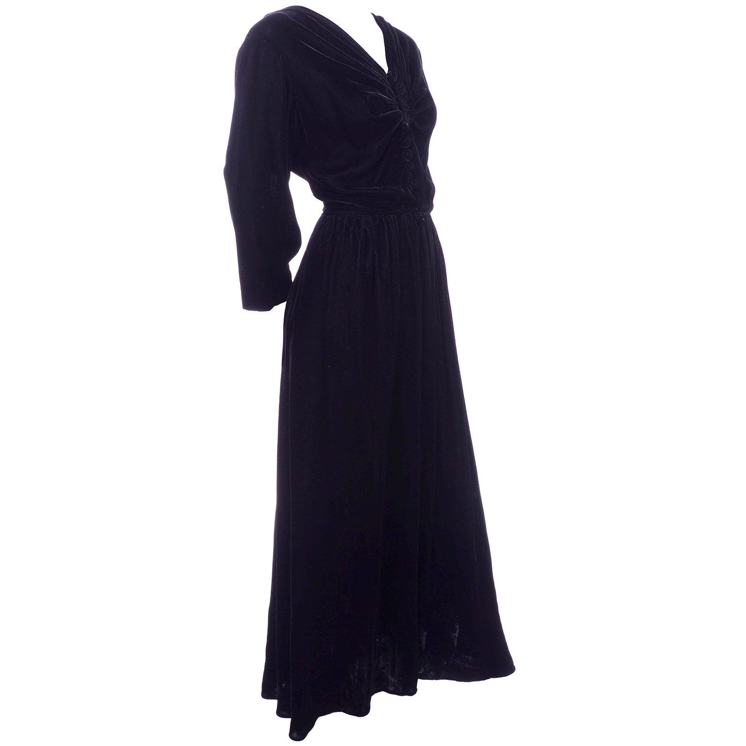 Vintage 1940s Black Velvet Evening Dress or Hostess Gown