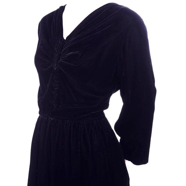 Vintage 1940s Black Velvet Evening Dress or Hostess Gown For Sale 2