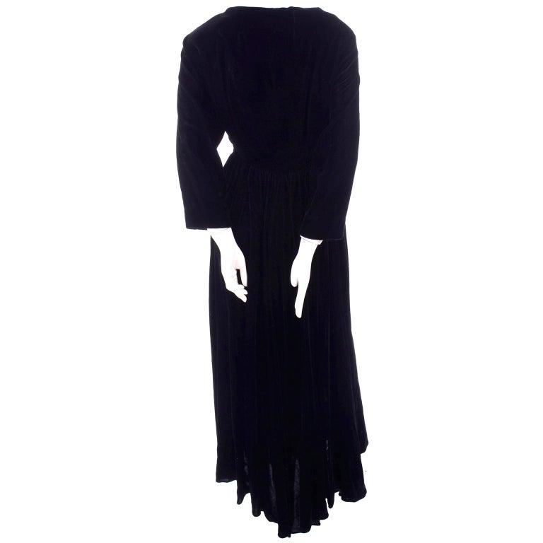 Vintage 1940s Black Velvet Evening Dress or Hostess Gown For Sale 3