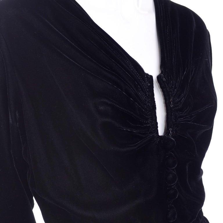 Women's Vintage 1940s Black Velvet Evening Dress or Hostess Gown For Sale