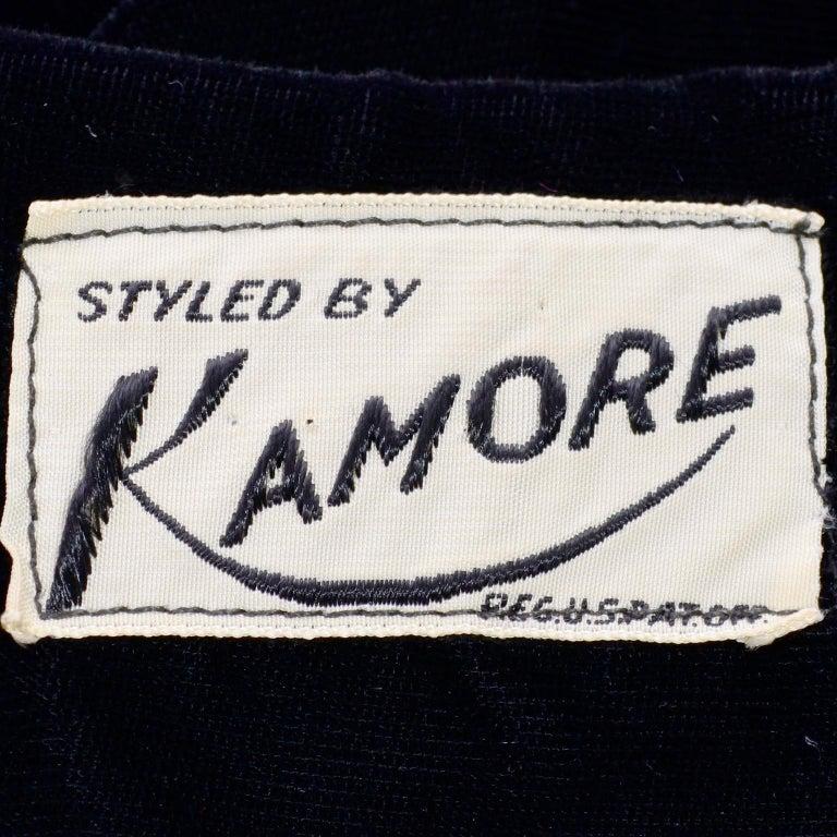 Vintage 1940s Black Velvet Evening Dress or Hostess Gown For Sale 4