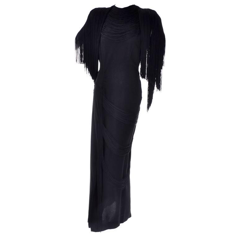 Rare Custom Gilbert Adrian Vintage Dress 1940s Black Fringe Formal ...
