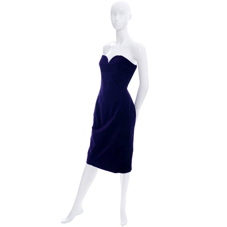 Travilla Purple Velvet Vintage Cocktail Dress Detached Sleeves Opera Gloves 1980 3