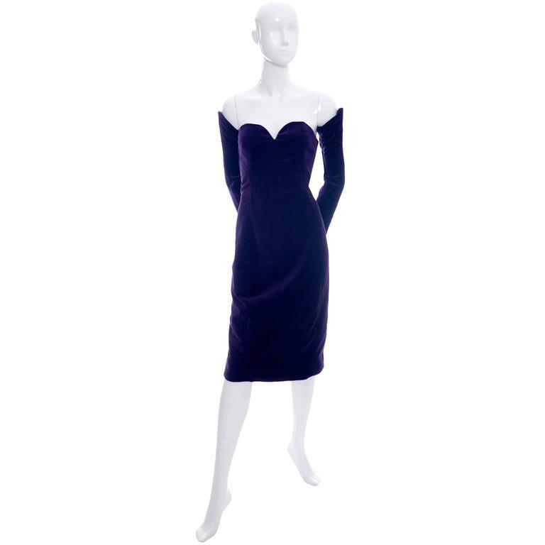 Travilla Purple Velvet Vintage Cocktail Dress Detached Sleeves Opera Gloves 1980 4