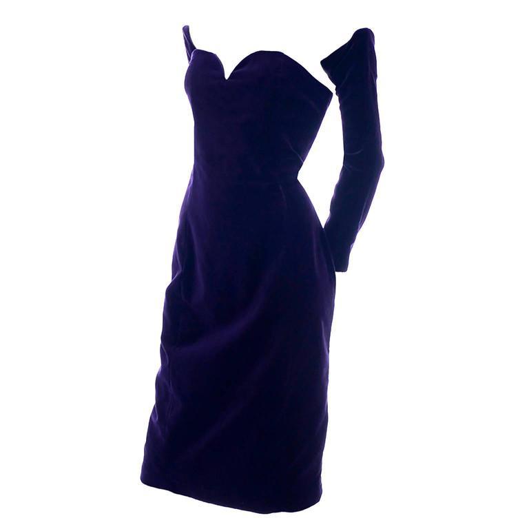 Travilla Purple Velvet Vintage Cocktail Dress Detached Sleeves Opera Gloves 1980 2