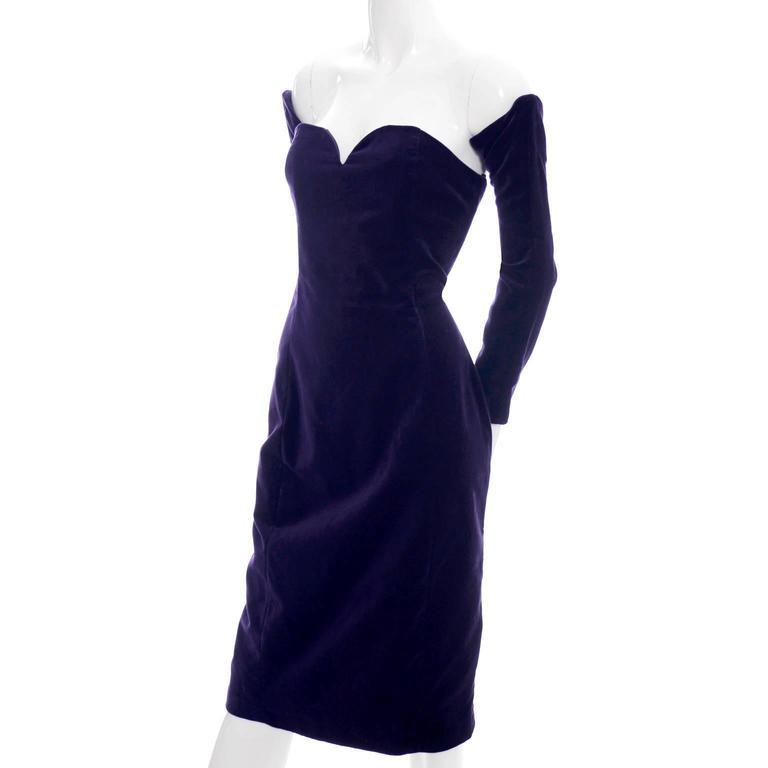 Travilla Purple Velvet Vintage Cocktail Dress Detached Sleeves Opera Gloves 1980 5